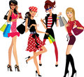 Fashion girl, woman face, shopping girls, successful purchases Royalty Free Stock Photo