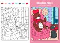 Fashion girl world coloring pages for kids, teddy.