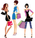 Fashion girls colorful illustration of three fashionable with bags Royalty Free Stock Images