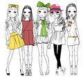 Fashion girls five cartoon art Stock Photo