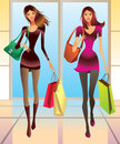 Fashion girls with new purchase Stock Photos