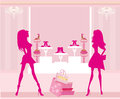 Fashion girls shopping in shoe shop illustration Royalty Free Stock Photo