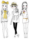 Fashion girls three cartoon art Stock Photos