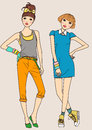 Fashion girls two cartoon art Stock Photos