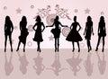 Fashion girls -  vector illustration Stock Photos