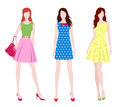 Fashion girls vector illustration of the three in different dresses Royalty Free Stock Photos