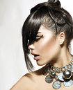 Fashion glamour beauty girl with stylish hairstyle and makeup Royalty Free Stock Photography