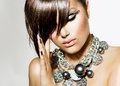 Fashion glamour beauty girl with stylish hairstyle and makeup Stock Images
