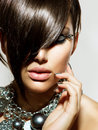 Fashion glamour beauty girl with stylish hairstyle and makeup Royalty Free Stock Image