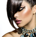 Fashion glamour beauty girl with stylish hairstyle and makeup Stock Photography