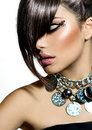 Fashion glamour beauty girl with stylish hairstyle and makeup Royalty Free Stock Photos