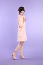 Fashion glamour lady, fashionable woman in pink coat with elegan Royalty Free Stock Photo