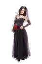 Fashion gothic bride isolated on white background Royalty Free Stock Photo