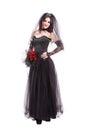Fashion gothic bride isolated on white background Royalty Free Stock Photo