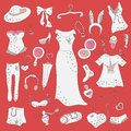 Fashion hand drawn doodle set shopping madness Royalty Free Stock Photos
