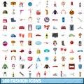 100 fashion icons set, cartoon style