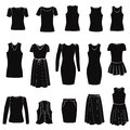 Fashion icons set female cloth collection dress silhouette Stock Photo