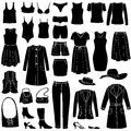 Fashion icons set female cloth collection dress silhouette Royalty Free Stock Photos