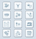 Fashion icons tech series industry sewing tools and objects icon set Stock Photo