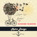 Fashion illustration or beautiful save the date card with dandel
