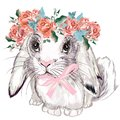 Fashion illustration with bunny girl and roses