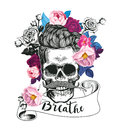 Fashion illustration depicting skull with the rose in his teeth. Trending floral background. Could be used for T-shirt Royalty Free Stock Photo