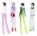 Fashion illustration girls retro winter colored pencils drawing of girl s Stock Image