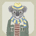 Fashion illustration of koala retro hand draw Royalty Free Stock Photos