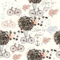 Fashion illustration or pattern with dandelions and retro bicycl