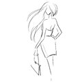 Fashion illustration, scribble drawing by black lines Royalty Free Stock Photo