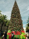 Fashion island christmas tree people walk Royalty Free Stock Images