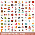 100 fashion journal icons set, flat style