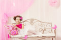 Fashion Kid, Little Girl Portrait, Child Posing in Pink Dress Royalty Free Stock Photo