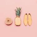 Fashion ladies summer style set. Vanilla fruits and shoes Royalty Free Stock Photo