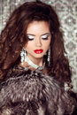Fashion lady, Beautiful woman in fur coat posing in luxury brill