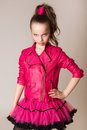 Fashion little girl in glam rock style studio photo portrait Royalty Free Stock Photo