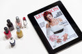 Fashion: magazine cover on a tablet