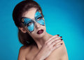 Fashion Make up. Butterfly makeup on face beautiful woman. Art P Stock Image