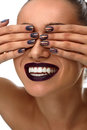 Fashion Makeup. Woman With Dark Nails, Lipstick And White Smile Royalty Free Stock Photo