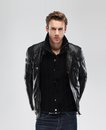 Moda uomo pelle giacca grigio