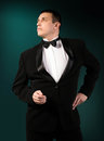 Fashion Men in Classic Tuxedo Stock Images
