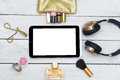Fashion mockup with business lady accessories and electronic dev Royalty Free Stock Photo