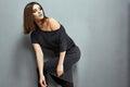 Fashion Model Black Dress Posi...