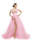 Fashion Model Dress, Woman in Long Pink Clothes, Asian Girl Royalty Free Stock Photo