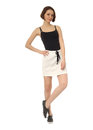Fashion model dressed in short sport skirt isolated on white Royalty Free Stock Photo