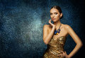 Fashion Model Face Portrait, Elegant Woman in Necklace Jewelry Royalty Free Stock Photo