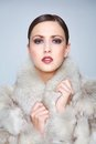 Fashion Model in Fur Coat Stock Photo