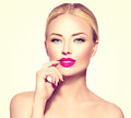 Fashion model girl with blond hair Royalty Free Stock Photo