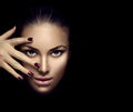 Fashion model girl face, beauty woman makeup and manicure Royalty Free Stock Photo