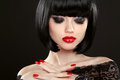 Fashion model girl face, beauty woman makeup and red manicure. B Royalty Free Stock Photo